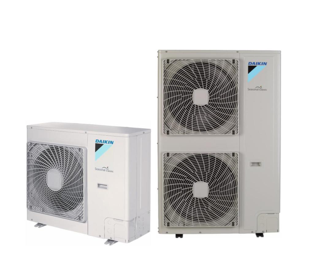 RZQSG – Seasonal Classic utedel. Utedelen kan settes opp med 1-4 innedeler for identisk fordeling av varme eller kjøling. Dette gir god fordeling av luftstrømmen i lange eller irregulære romutforminger, samt færre rørstrekk med kun én utedel. Seasonal Classic er optimal for kjøleapplikasjoner der den kombinerer teknologi og komfort i en prisgunstig utforming. Tilgjengelig i både 230V og 400V versjoner (-V/Y).